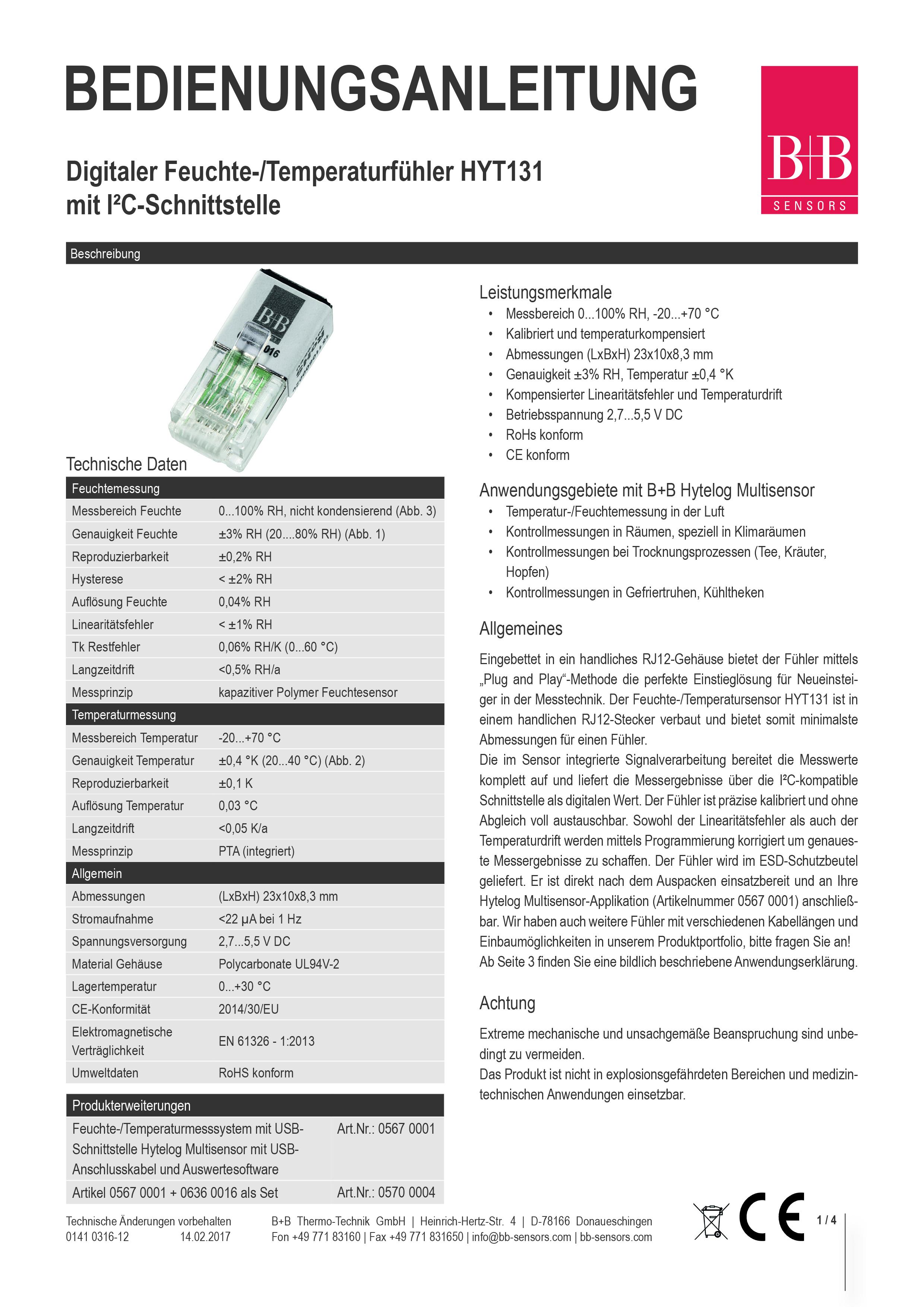 Starterkit HYT131 Deckblatt